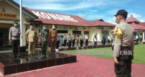 Polres Konawe Bersama Pemda dan TNI Melaksanakan Penyemprotan Disinfektan Massal