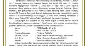 PENGUMUMAN!  Penetapan Satu Nama JPT Pratama Sekretaris Daerah Kabupaten Konawe