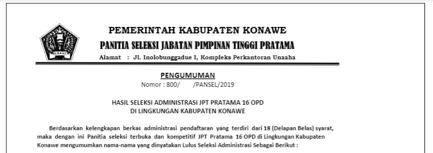 PENGUMUMAN! Hasil Seleksi Terbuka Pengisian Jabatan Pimpinan Tinggi Pratama Eselon II