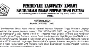 Pengumuman Eselon II Kabupaten Konawe Terpilih