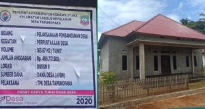 Pemdes Bersama Warga Tapunopaka Bangun Perpustakaan Desa