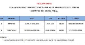 Pengumuman: Pemanggilan Divisi Dump Truk Tahap 18 PT VDNI